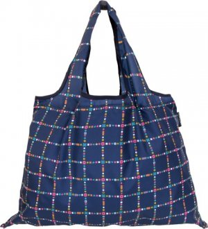 Shizuku Navy With Checks Shopping Bag
