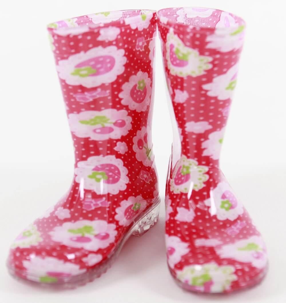 kids rain boots red cherry matching