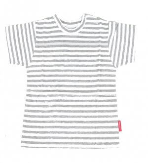 Kids round neck t-shirt in grey stripes