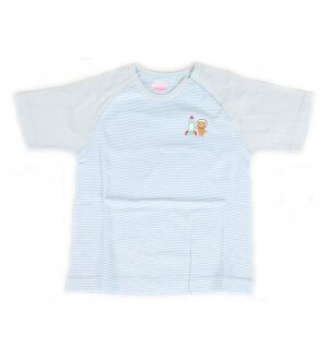 Kids round neck t-shirt in light blue stripes