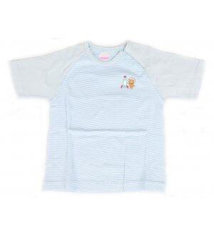Kids round neck t-shirt in light blue stripes