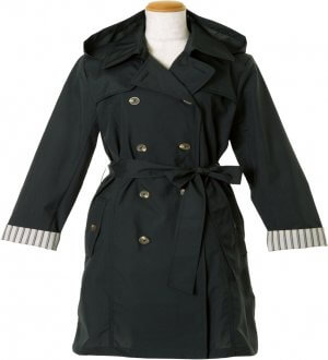 Ladies Double-Breasted Belted Trench Coat in Black with stripes inverted sleeve