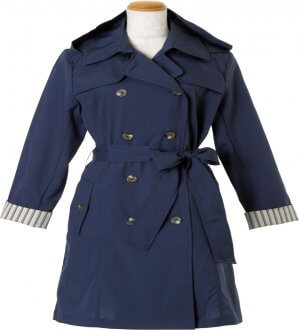 Ladies Double-Breasted Belted Trench Coat in Navy with stripes inverted sleeve