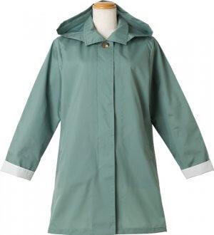 Ladies Soutien Collar Raincoat Green
