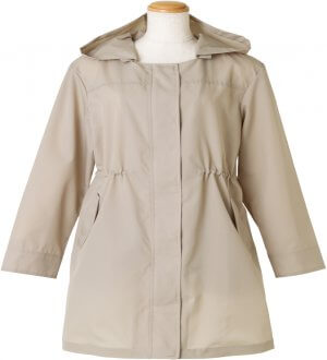 Ladies Raincoat without collar in Beige