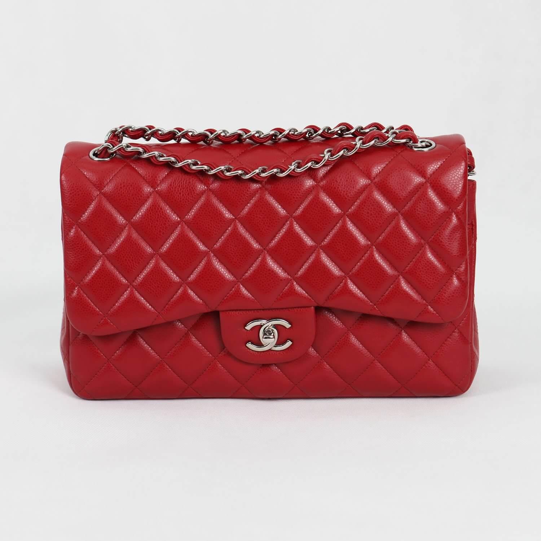 Preloved Chanel Jumbo Red Caviar df653331636d