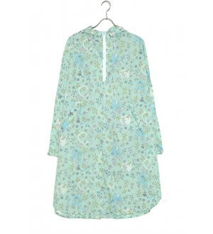 Ladies Rain Poncho with Visor mint green hummingbird & floral prints