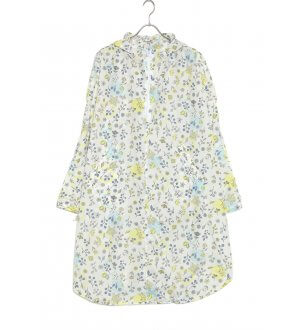 Ladies Rain Poncho with Visor in off-white with hummingbird and floral prints