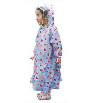 Kids Raincoat Very Cherry Berry Light Blue