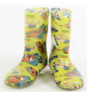 Kids Rain Boots Go Go Machines Kiwi Green