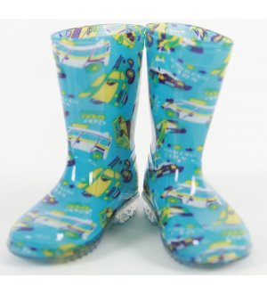 Kids Rain Boots Go Go Machines Turquoise Blue