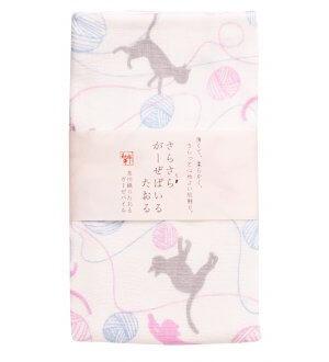 Japan Wafuka Cat & Knit Face Towel