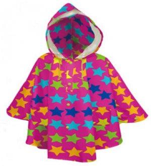 Kids Rain Poncho Twinkle Stars Fushia
