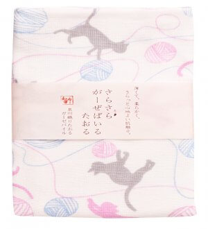 Japan Wafuka Cat & Knit Face Towel