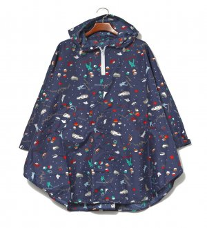 Ladies Rain Poncho in Navy with New York iconics