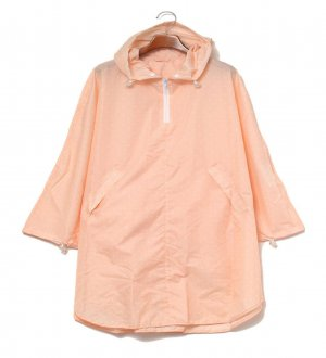 Ladies Rain Poncho in Peach Pink with white dots