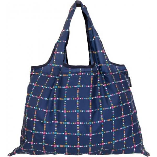 Shizuku Navy With Checks Shopping Bag