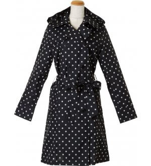Ladies Pattern Trench Coat Dots