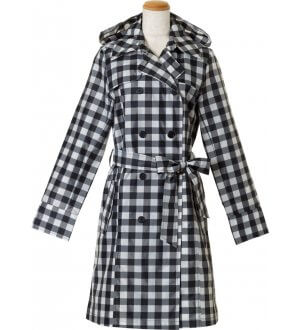 Ladies Pattern Trench Coat Checks