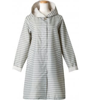 Ladies Border Hoody Raincoat in Grey Stripes