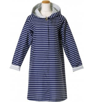 Ladies Border Hoody Raincoat in Navy Stripes