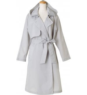 Ladies Belted Gown Trench Coat in Grey