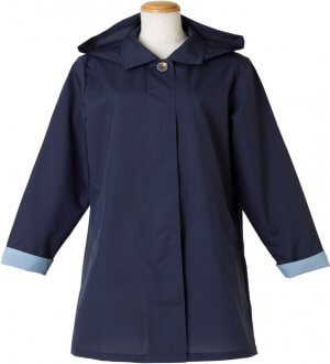 Ladies Soutien Collar Raincoat in Navy