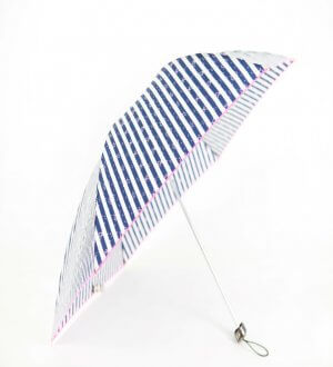 Ribbon on Stripes with Embroidery Trimmings Folding Umbrella